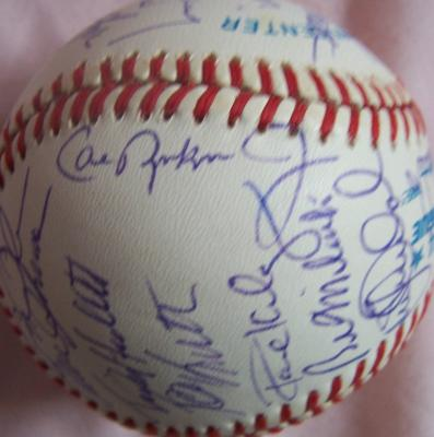 1991 Baltimore Orioles team autographed baseball Brady Anderson Mike Flanagan Cal Ripken Jr &amp; Sr