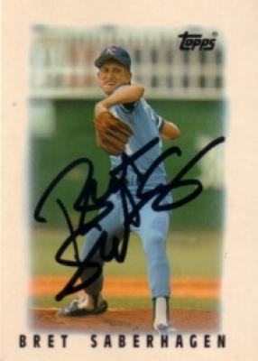 Bret Saberhagen autographed Kansas City Royals 1986 Topps card
