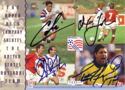 Thomas Dooley Cobi Jones Alexi Lalas Tony Meola autographed 1994 US World Cup Team 5x7 card
