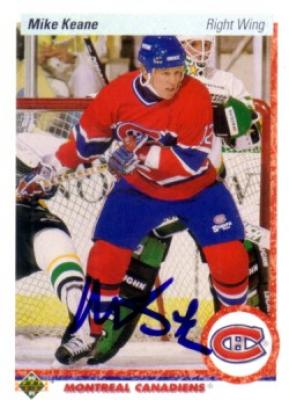 Mike Keane autographed Montreal Canadiens 1990-91 Upper Deck card