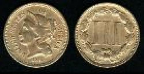 3 cents; Year: 1865-1889; nickel