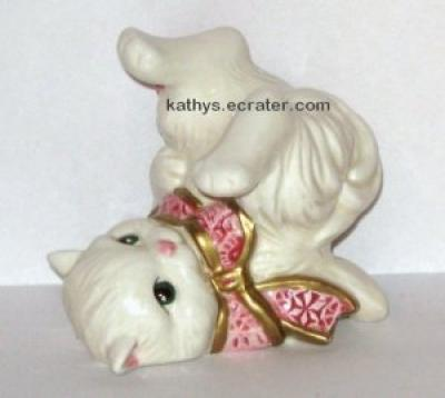 Fitz and Floyd Porcelain Tumbling Cat White Pink Bow Animal Figurine