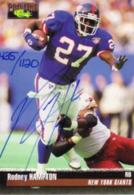 Rodney Hampton certified autograph New York Giants 1995 Pro Line card