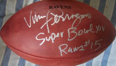 Vince Ferragamo autographed NFL game football inscribed Rams #15 Super Bowl 14