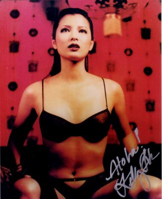 Kelly Hu autographed sexy 8x10 lingerie photo