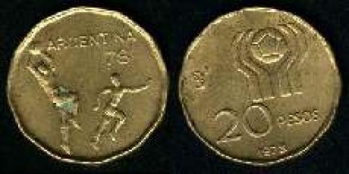 20 Pesos; Year: 1977-1978; (km 75); aluminum bronze; MUNDIAL 78 LOGO