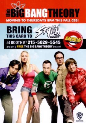 Big Bang Theory 2010 Comic-Con 5x7 promo card MINT