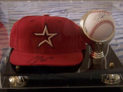 Craig Biggio autographed Houston Astros cap & MLB baseball in display case