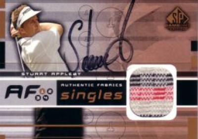 Stuart Appleby autographed 2003 SP Game Used golf tournament worn shirt card