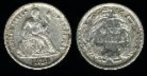 10 cents; Year: 1860-1891; Liberty. Seated w/ legend