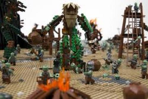 The Battle of Isengard from Lord of the Rings, depicted in 22000 LEGO bricks