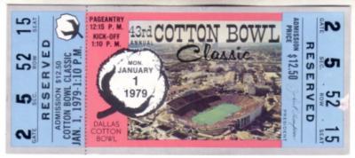 1979 Cotton Bowl full unused ticket (Joe Montana Notre Dame Chicken Soup Game)