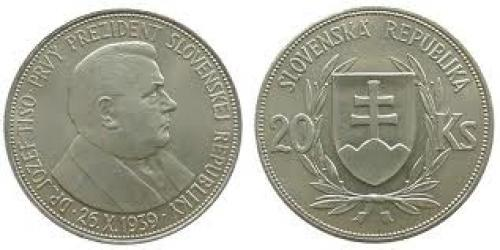 Coins; Slovakia Ag Dr.Tiso 20 Korun 1939