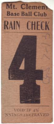 1904 Mt. Clemens (Michigan) baseball Crocker Field ticket