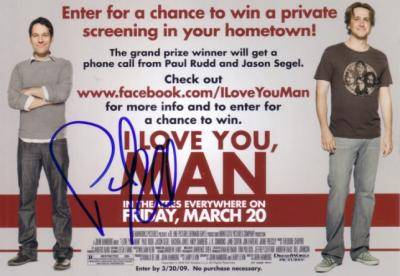 Paul Rudd autographed I Love You Man promotional card