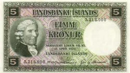 Banknotes, Iceland /  5 Kronur 1930