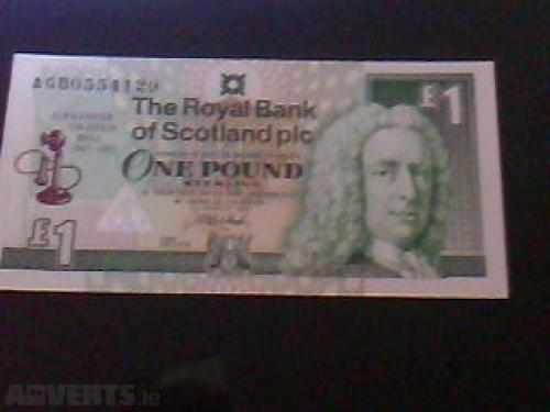 1 Pound Scottish Banknote Uncirculated UNC-1997