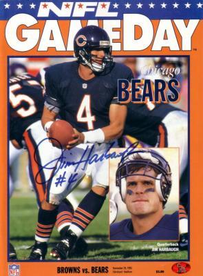 Jim Harbaugh autographed Chicago Bears 1992 GameDay program