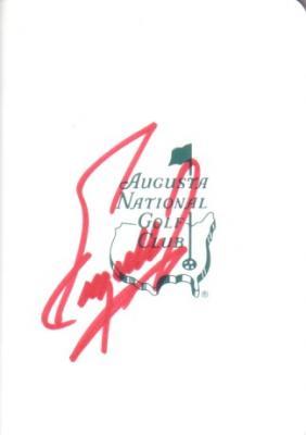 Fuzzy Zoeller autographed Augusta National Masters scorecard