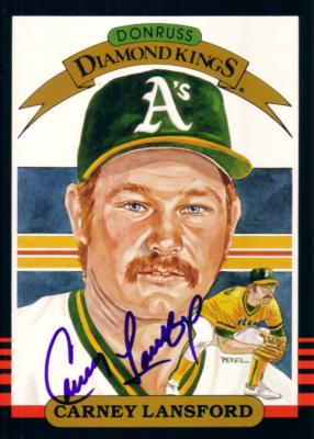 Carney Lansford autographed A's 1985 Donruss 5x7 Diamond King card