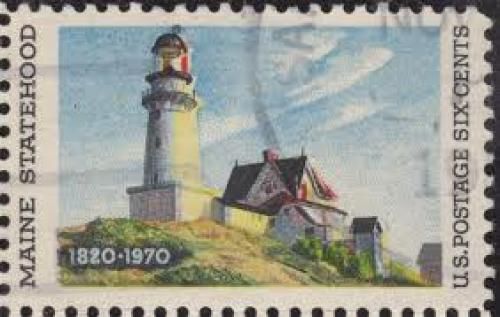 "Stamps; ""Lighthouse at Two Lights"" (1929) In the stamp from 1970; 6 cents"