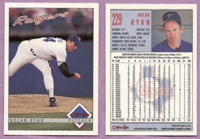 Nolan Ryan Texas Rangers 1993 OPC card #229 MINT