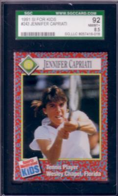 Jennifer Capriati 1991 Sports Illustrated for Kids Rookie Card graded SGC 92 (NrMt-Mt+)