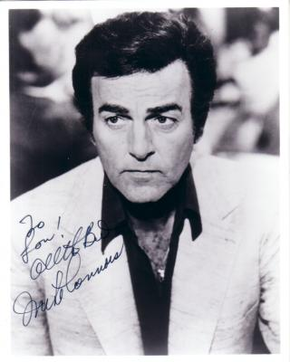 Mike Connors autographed Mannix 8x10 photo (To Lou)