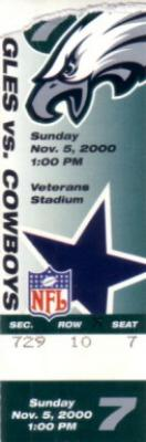 2000 Philadelphia Eagles vs Dallas Cowboys ticket stub