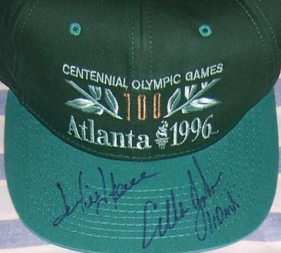 Jackie Joyner-Kersee &amp; Allen Johnson autographed 1996 Olympics cap