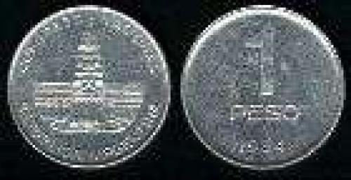 1 Peso; Year: 1984; (km 91); aluminio; CONGRESO NACIONAL