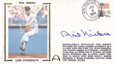 Phil Niekro autographed 3000 Strikeouts Gateway cachet envelope