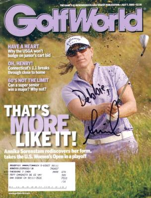 Annika Sorenstam autographed 2006 Golf World magazine (to Debbie)