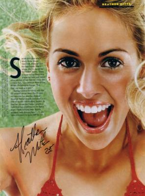 Heather Mitts autographed sexy FHM magazine photo