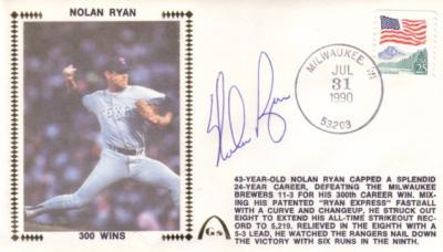 Nolan Ryan autographed Texas Rangers 300 Wins cachet envelope