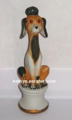 Vintage Price Japan Ceramic Brown Tall Poodle Dog Animal Figurine