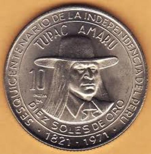 Coins; 1971 10 SOLES DE ORO COIN PERU TUPAC AMARU