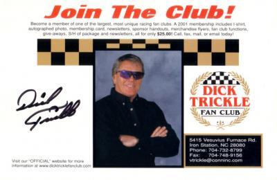 Dick Trickle (NASCAR) autographed 6x9 photo card