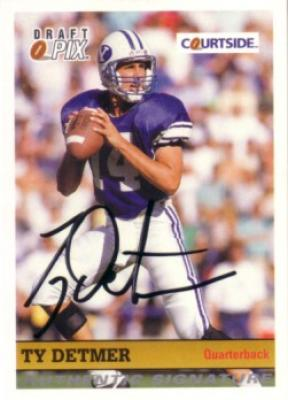 Ty Detmer BYU certified autograph 1992 Courtside card