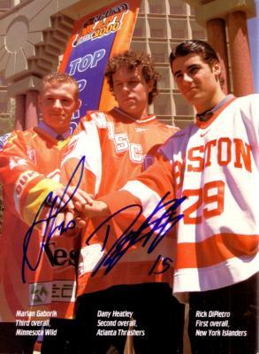 Marian Gaborik & Dany Heatley autographed Beckett Hockey back cover photo