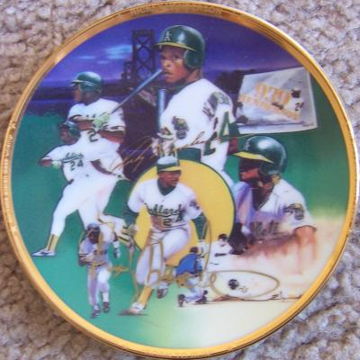 Rickey Henderson autographed Oakland A's mini ceramic plate