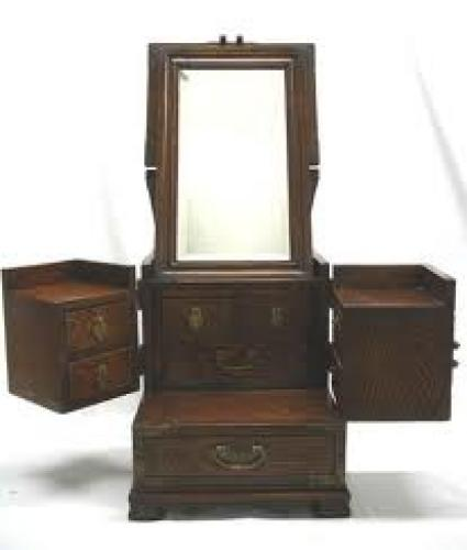 Antique Asian Wooden Dressing Table Jewelry Box