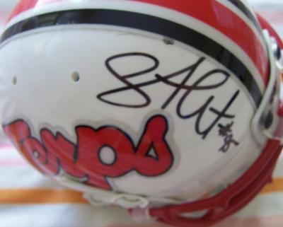 Shawne Merriman autographed Maryland mini helmet