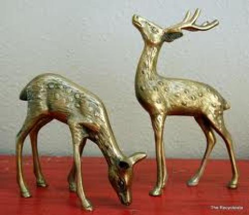 Vintage Solid Brass DEER Couple Decorative Figurines