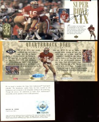 Joe Montana autographed San Francisco 49ers Super Bowl 19 jumbo card UDA