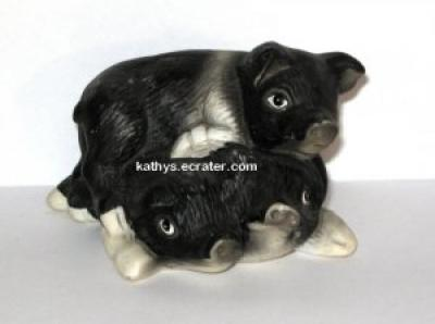 Black and White 3 Porcelain Pigs in a Pile Animal Figurine
