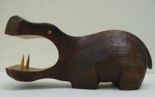Vintage Mod Eames Era Wood Hippo Sculpture