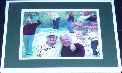 Jack Nicklaus & Arnold Palmer autographed 8x10 photo matted & framed