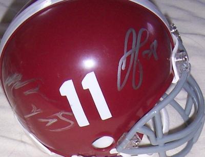 Javier Arenas Terrence Cody Kareem Jackson Leigh Tiffin autographed 2009 Alabama mini helmet