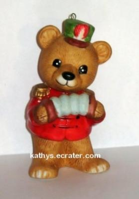 Ornament: Homco 5533 Bear Marching Band Accordian
